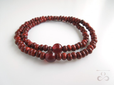 <Hitoshina>Padoauk & Agate 108bracelet (delivery by DHL)