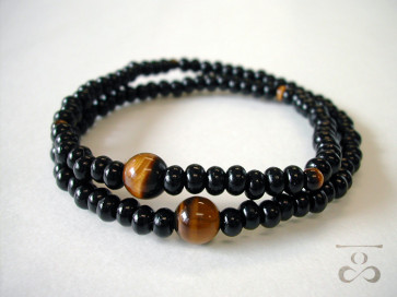 <Hitoshina>Ebony & Tiger's eye 108 bracelet