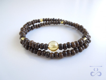<Hitoshina>Ziricote & Yellow colored quartz 108bracelet