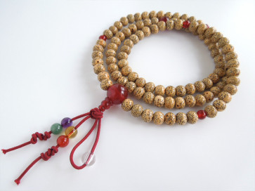 Linden tree seed Nenju with Agate (by the master craftsman, Shigeo Kishibe) (prayer beads/ necklace/ bracelet)