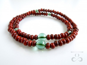 Padoauk & Green colored quartz 108 bracelet