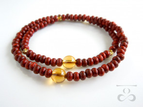 Padoauk & Yellow colored quartz 108 bracelet