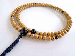 Seigetsu Linden tree seeds & Hawk's eye 7mm beads Rinzai School Nenju with iron blue strings