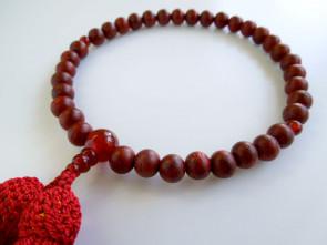 Padoauk  & Agate 7mm beads short Nenju with wine red tassels