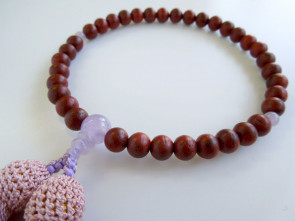 Padoauk  & Lavender amethyst 7mm beads short Nenju with lilac tassels