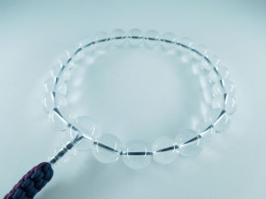 Crystal quartz 12mm beads short Nenju with iron blue & deep purple strings