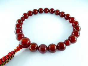 Agate 12mm beads short Nenju with garnet & chrome yellow strings