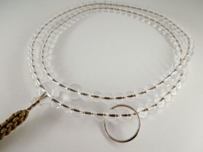 Crystal quartz 7mm beads Soto School Nenju with light brown strings & a silver ring