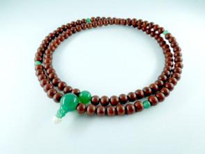 Padoauk & Aventurine 108 beads long Nenju with no tassels