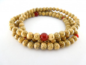 Seigetsu linden tree seeds & Agate 6mm 108 bracelet