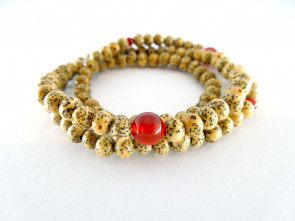 Seigetsu linden tree seeds & Agate 5mm 108 bracelet
