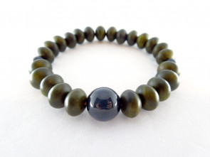 Lignum Vitae & Hawk's eye 7.5mm oval beads bracelet