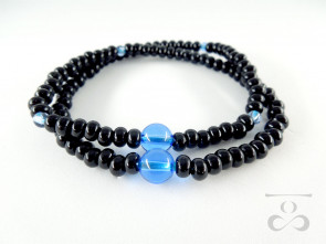 Ebony & Blue colored quartz 108 bracelet