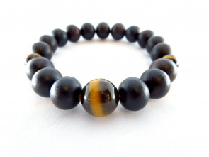 Striped ebony & Tiger's eye 10mm beads bracelet