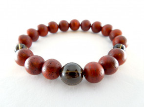 Padoauk & Smoky quartz 10mm beads bracelet