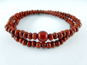 Padoauk & Agate 108 bracelet (with no marker beads)