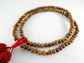 Enju & Agate 5mm beads Rinzai School Nenju with garnet tassels