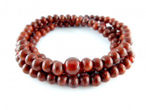 Padoauk & Agate 5mm 108 bracelet  (with one parent bead)