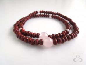 Padoauk & Rose quartz 108bracelet  (delivery by DHL)