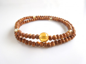 Sandalwood & Yellow colored quartz 108bracelet