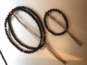 Ebony 108bead prayer beads with Agate (Soto sec.)